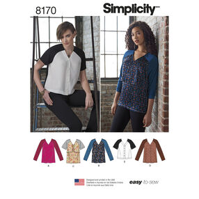 Pattern 8170 Misses' Easy to Sew Tunics and Tops