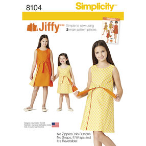 Simplicity Pattern 8104 Child's and Girls' Jiffy® Reversible Wrap Dress
