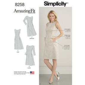 Simplicity Pattern 8258 Misses' and Plus Size Amazing Fit Dress