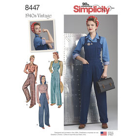 Pattern 8447 Misses' Vintage Pants, Overalls and Blouses