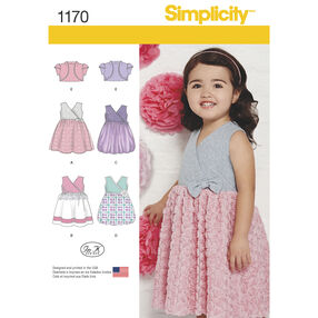 Toddlers' Dress with Knit Bodice and Bolero