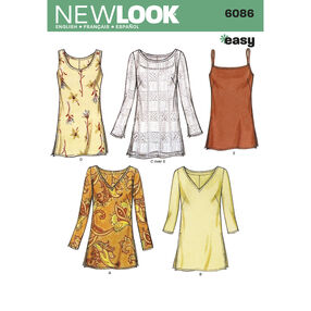 New Look Pattern 6086 Misses Tops