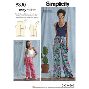Simplicity Pattern 8390 Girl's and Misses' Tie Front One-Piece Pants