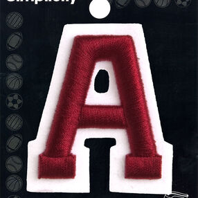 "2"" Raised Embroidery Letter Iron-On Applique, Red"