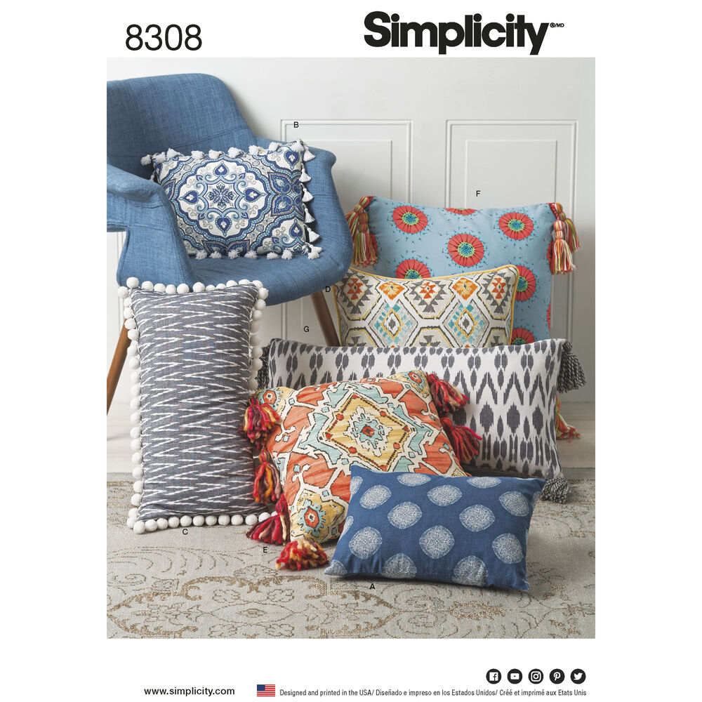 Brilliant Simplicity Times Square: Simplicity Pattern 8308 Pillows