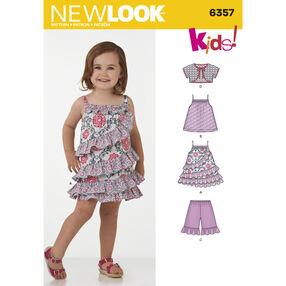 New Look Pattern 6357 Toddlers' Dress, Top, Shorts and Bolero