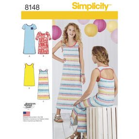 Simplicity Pattern 8148 Girls' Knit Dresses Each in Two Lengths