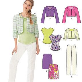Misses' Top, Jacket, Skirt & Pants