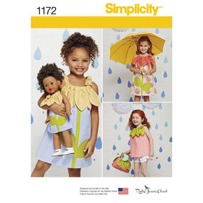 Simplicity Pattern 1172 Child's Sportswear Pieces with Matching Doll Dress