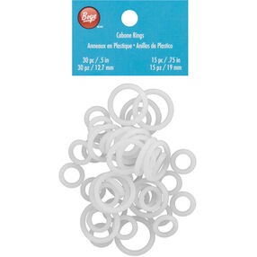 """Boye White Cabone Rings: .5"""" and .75"""", 45-Count"""
