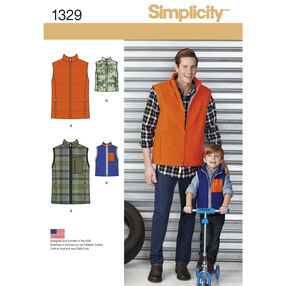 Simplicity Pattern 1329 Boys' and Men's Vests