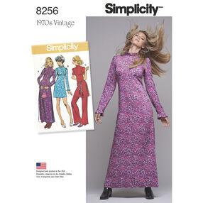 Simplicity Pattern 8256 Misses' Vintage 1970s Dresses