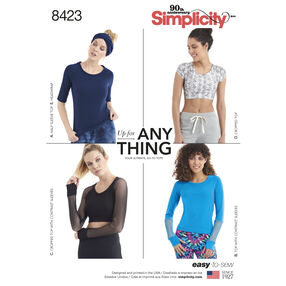 Pattern 8423 Misses' Knit Top with Sleeve Variations and Headwrap