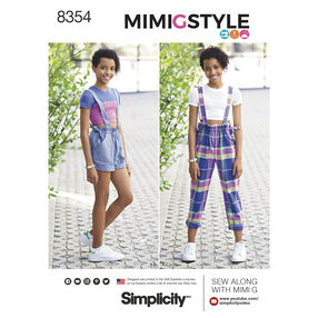 Simplicity Pattern 8354 Girls' & Girls Plus Overall & Cropped Knit Tee by Mimi G