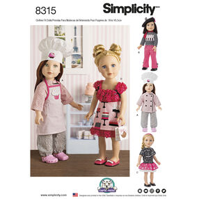 Simplicity Pattern 8315 18 Inch Chef Doll Clothes