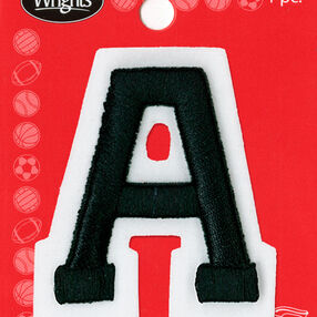 "2"" Raised Embroidery Letter Applique, Black"