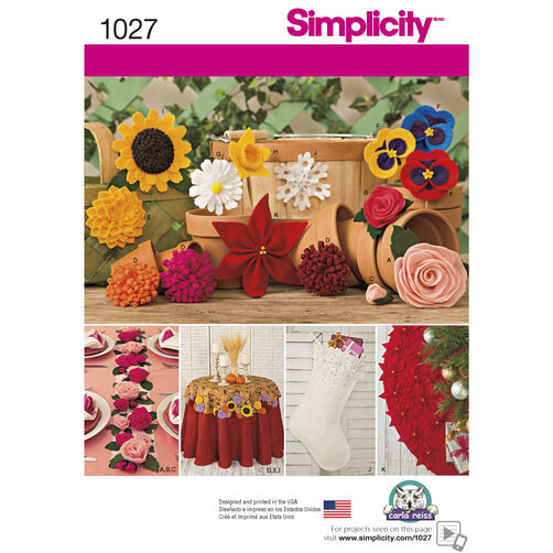 Simplicity Pattern 1027 Felt Flowers