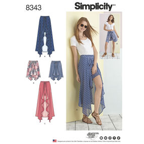 Simplicity Pattern 8343 Misses' Wrap-Front Skirt and Shorts