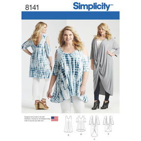 Simplicity Pattern 8141 Plus Size Knit Tunics and Mini Dress