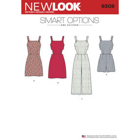 New Look Pattern 6509 Misses' Jumper, Romper, and Dress with Bodice Variations