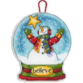 Believe Snow Globe Ornament in Counted Cross Stitch_70-08904