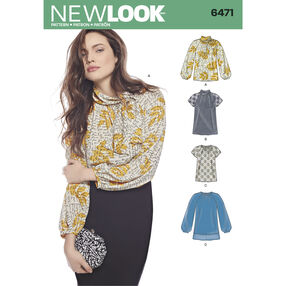 New Look Pattern 6471 Misses' Blouses and Tunic with Neckline Variations