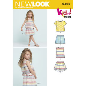 New Look Pattern 6465 Child's Easy Top, Skirt and Shorts