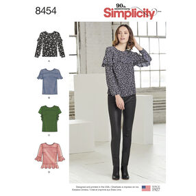 Simplicity Pattern 8454 Misses' Tops with Sleeve and Flounce Variations
