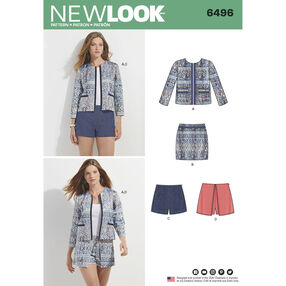 New Look Pattern 6496 Misses' Jacket, Skort, Shorts or Skirt