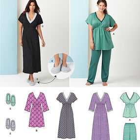 Misses' Nightgown in Three Lengths, Pajamas & Slippers