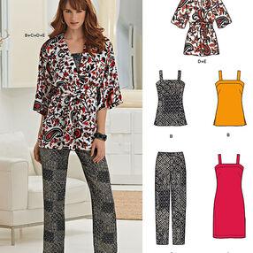 Misses' Dress or Top, Slim Pants, Kimono and Belt