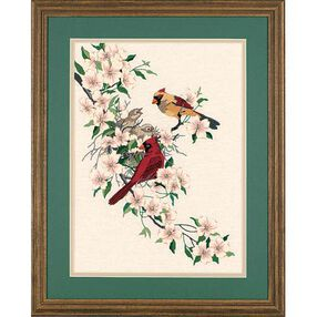 Cardinals in Dogwood, Embroidery_01516