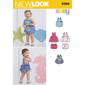 New Look Pattern 6385 Babies' Dress, Romper and Panties