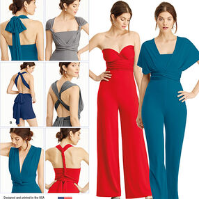 Pattern 8095 Misses' Knit Wrap, Twist and Tie Jumpsuit and Romper
