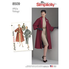 Simplicity Pattern 8509 Misses' Vintage Coat or Jacket