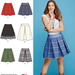 Misses' Skirts with Length and Trim Variations
