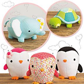 Stuffed Penguins, Turtle and Elephant