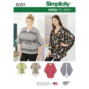 Pattern 8091 Misses Kimonos in Various Styles