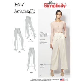 Simplicity Pattern 8457 Misses'/Women's Amazing Fit Trousers