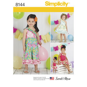 "Simplicity Pattern 8144 Toddlers' Fabric Mixed outfits, and 18"" Doll Clothes"