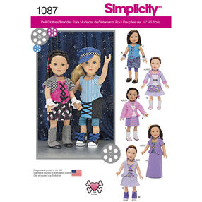 """Simplicity Pattern 1087 18"""" Doll Clothes"""