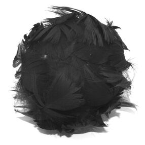 Medium Black Curled Feather Bud Pin & Clip Flower_56-63068