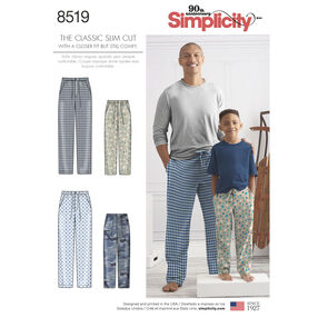 Simplicity Pattern 8519 Boys' and Men's Slim Fit Lounge Pants