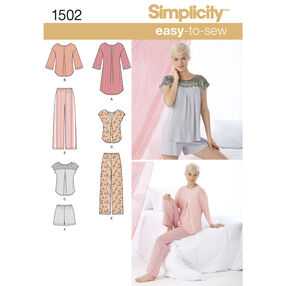 Simplicity Pattern 1502 Misses' Pants or Shorts and Nightshirt or Top
