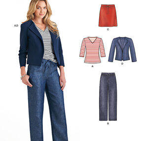 Misses' Jacket, Pants, Skirt and Knit Top