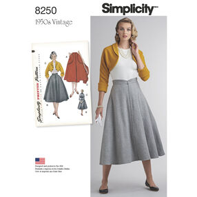 Simplicity Pattern 8250 Misses' Vintage 1950s Skirt and Bolero