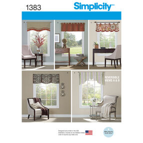 "Simplicity Pattern 1383 Valances for 36""- 40"" Wide Windows"