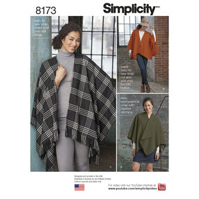 Pattern 8173 Misses' Fleece Poncho Wraps