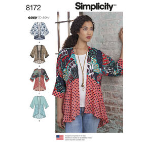 Pattern 8172 Misses' Fashion Kimonos with Length, Fabric and Trim Variations