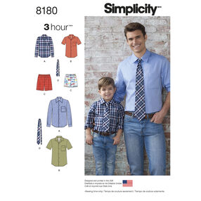 Pattern 8180 Boys' and Men's Shirt, Boxer Shorts and Tie